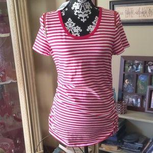 Michael Kors striped zipper shoulders top sz lg